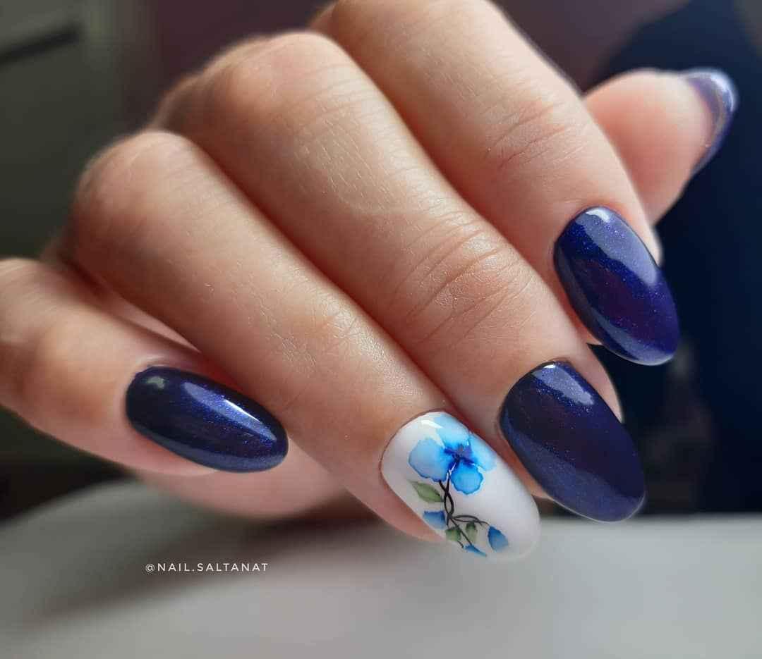 Акварельные капли на ногтях фото_47