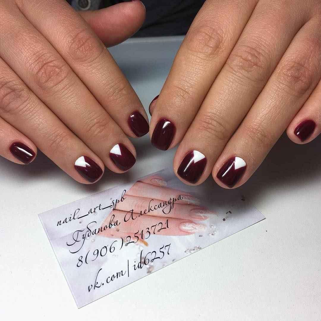 Треугольный френч на коротких ногтях фото_6