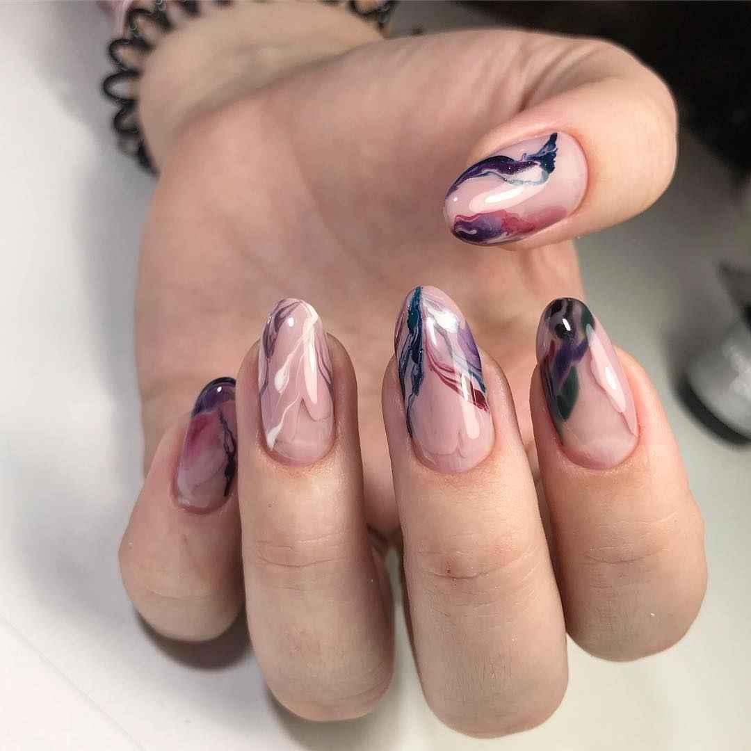 Акварельные капли на ногтях фото_60