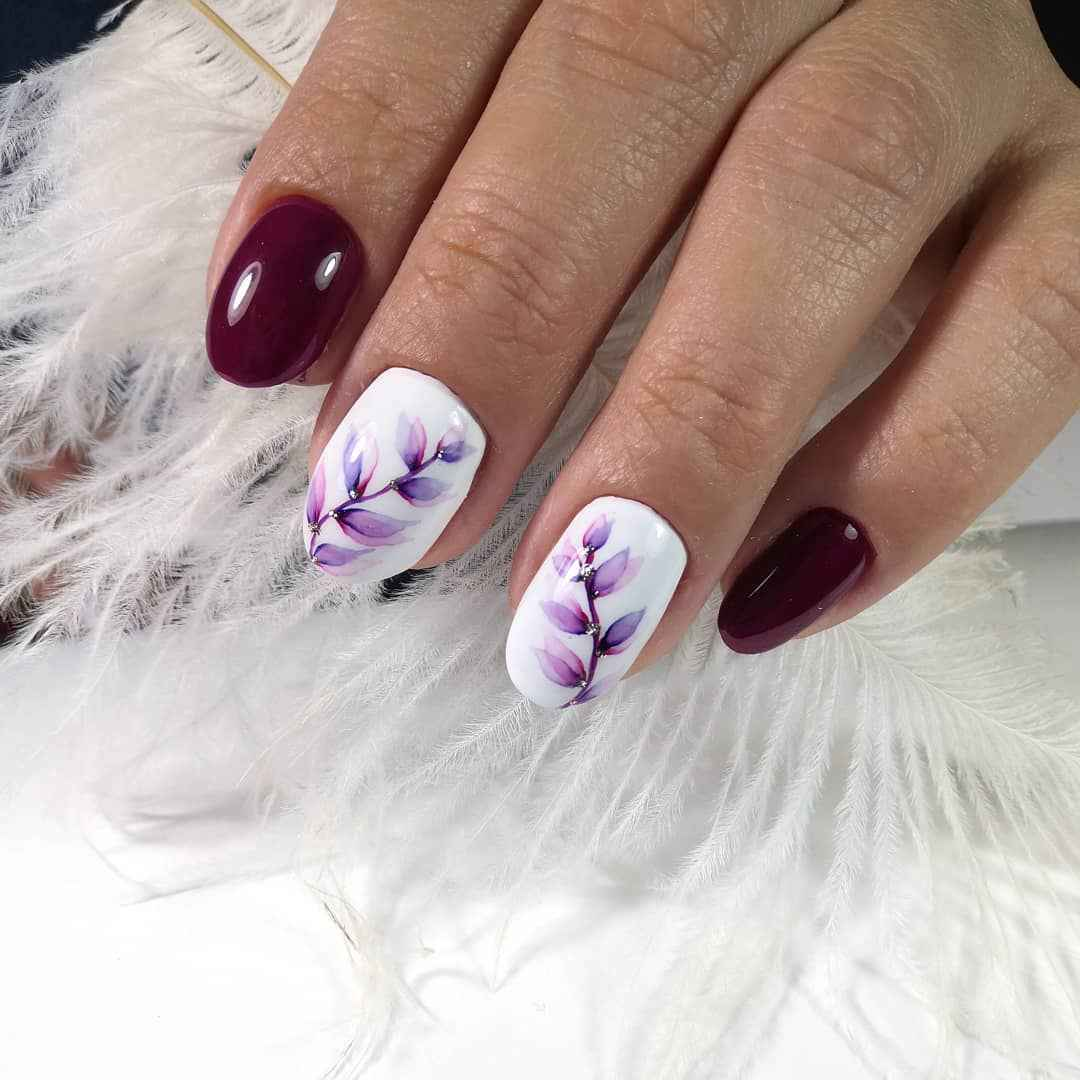Акварельные капли на ногтях фото_40