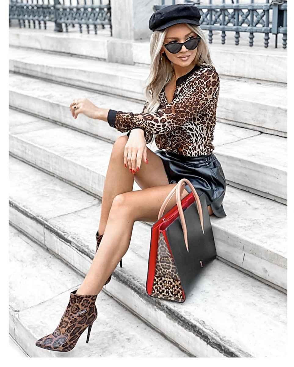 С чем носить леопардовые ботильоны и ботинки фото_3