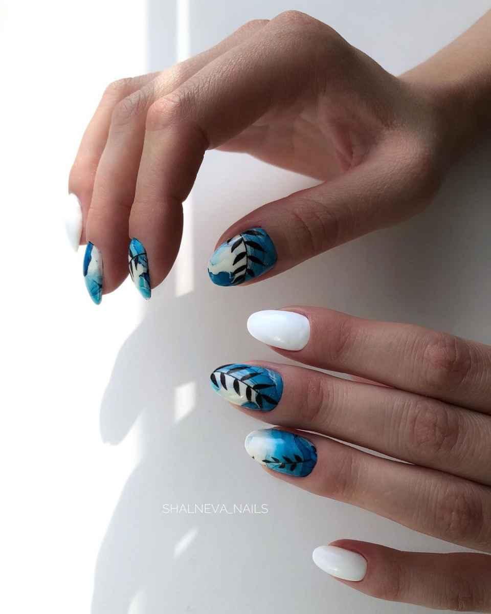 Акварельные капли на ногтях фото_6