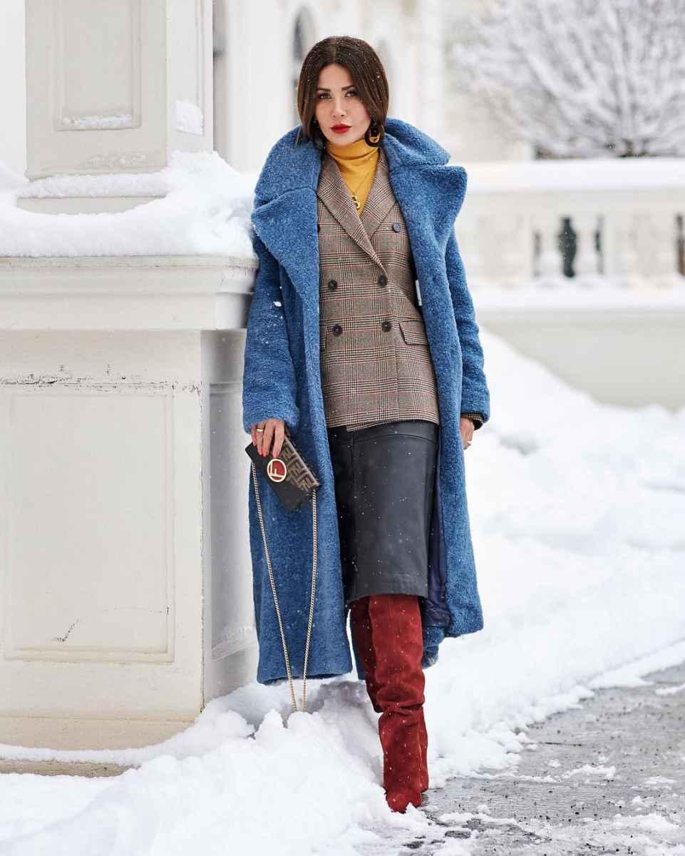 с чем носить темно-синее пальто фото_8