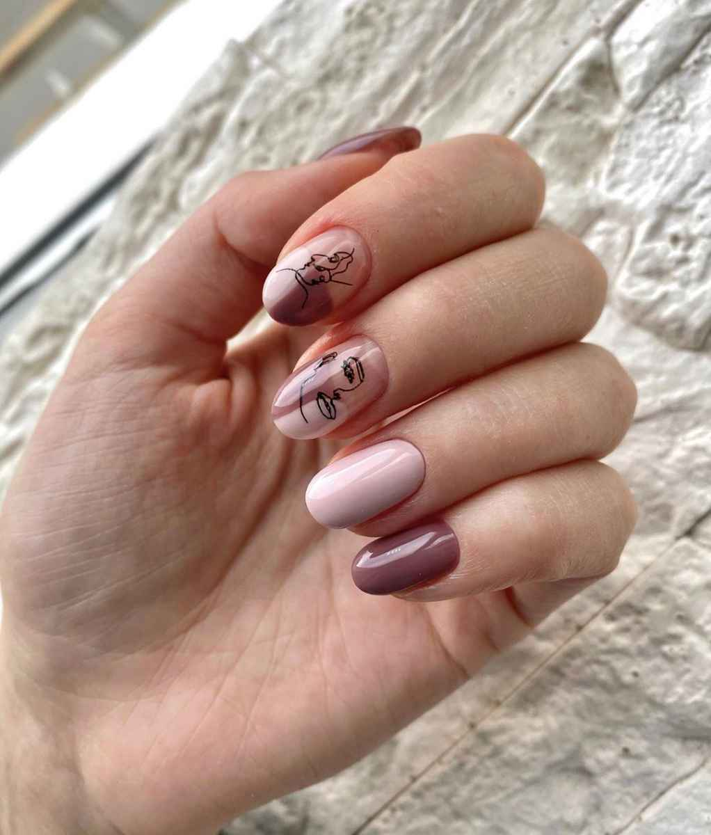 Маникюр с лицами на ногтях фото_28