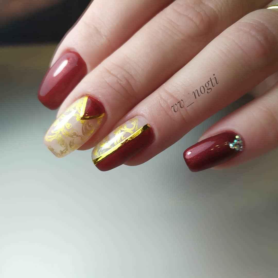 Бордово-золотой френч фото_3