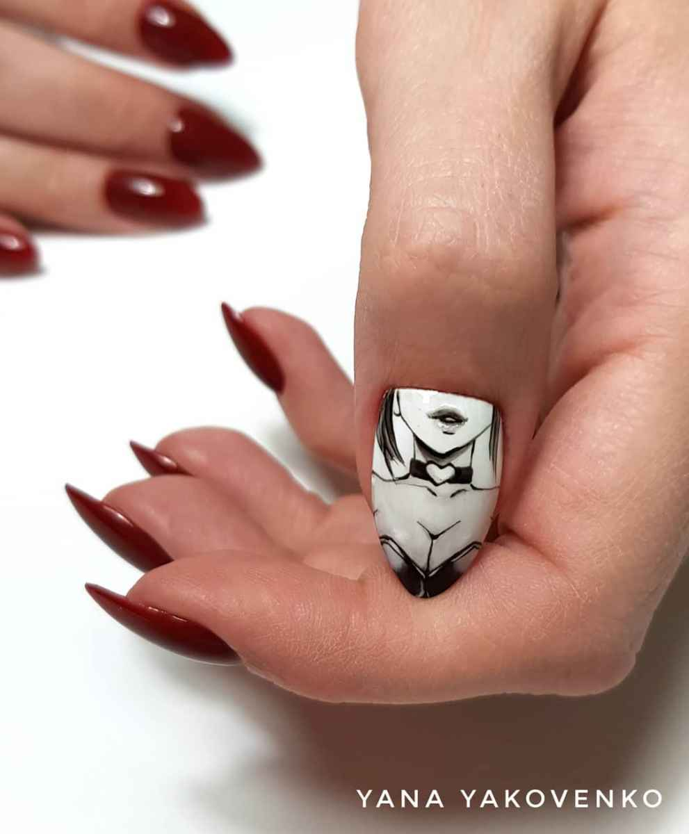 Маникюр с лицами на ногтях фото_47