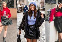С чем носить кожаную юбку зимой фото идеи
