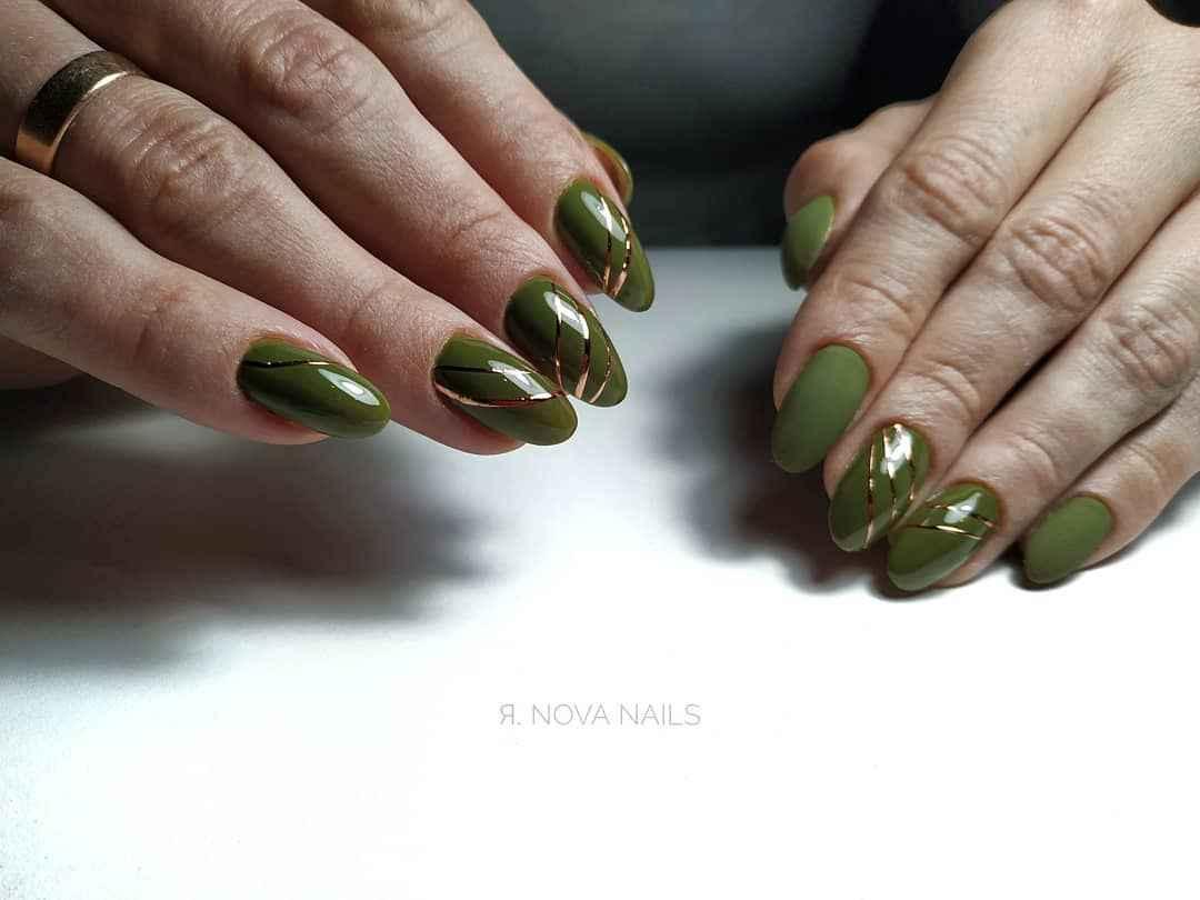 Модный оливковый маникюр 2020 фото_46