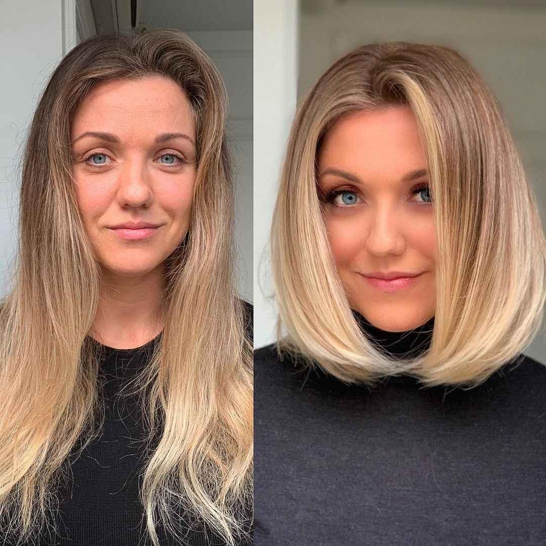 объемные стрижки на средние волосы 2020 фото_8