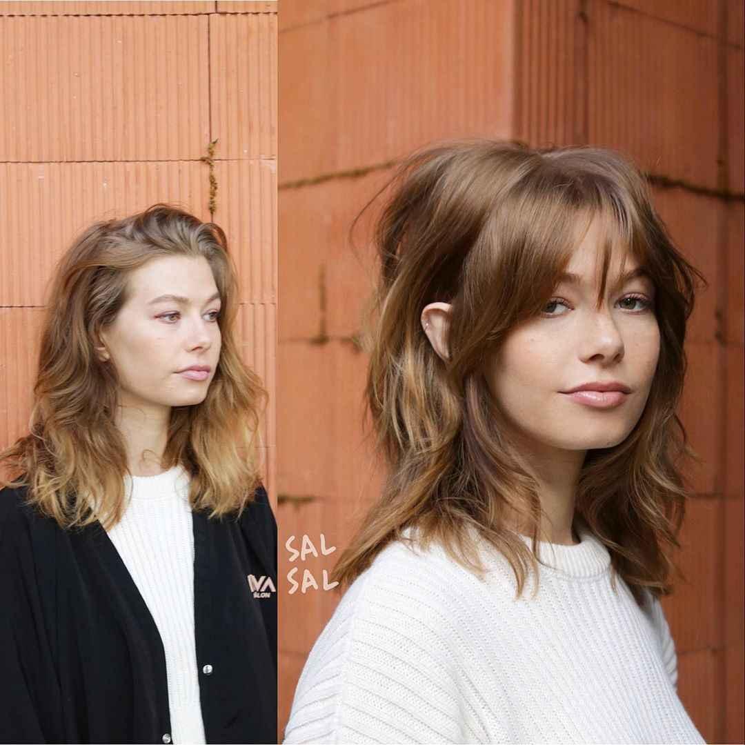 объемные стрижки на средние волосы 2020 фото_15