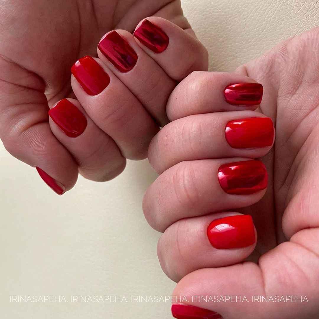 Красный деловой маникюр  фото_42