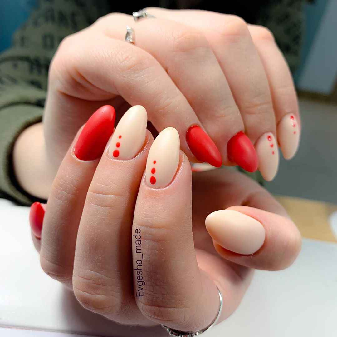 Красный деловой маникюр  фото_ё0