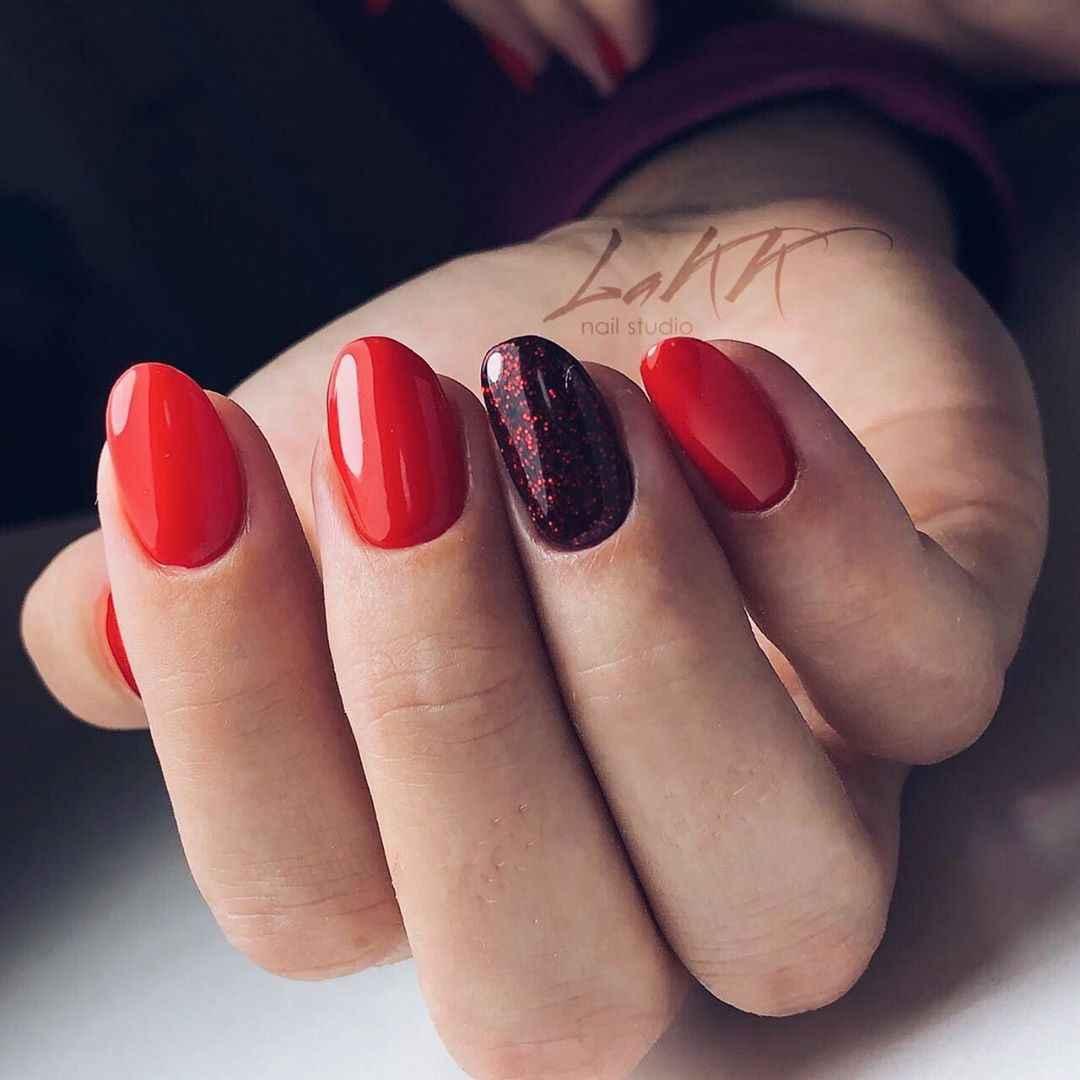Красный деловой маникюр  фото_61