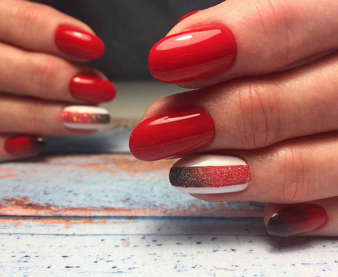 Красный деловой маникюр  фото_28