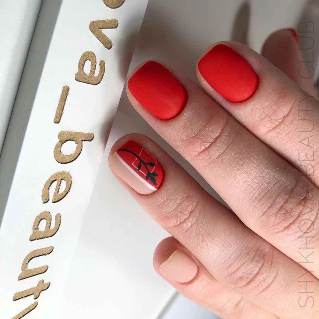 Красный деловой маникюр  фото_56