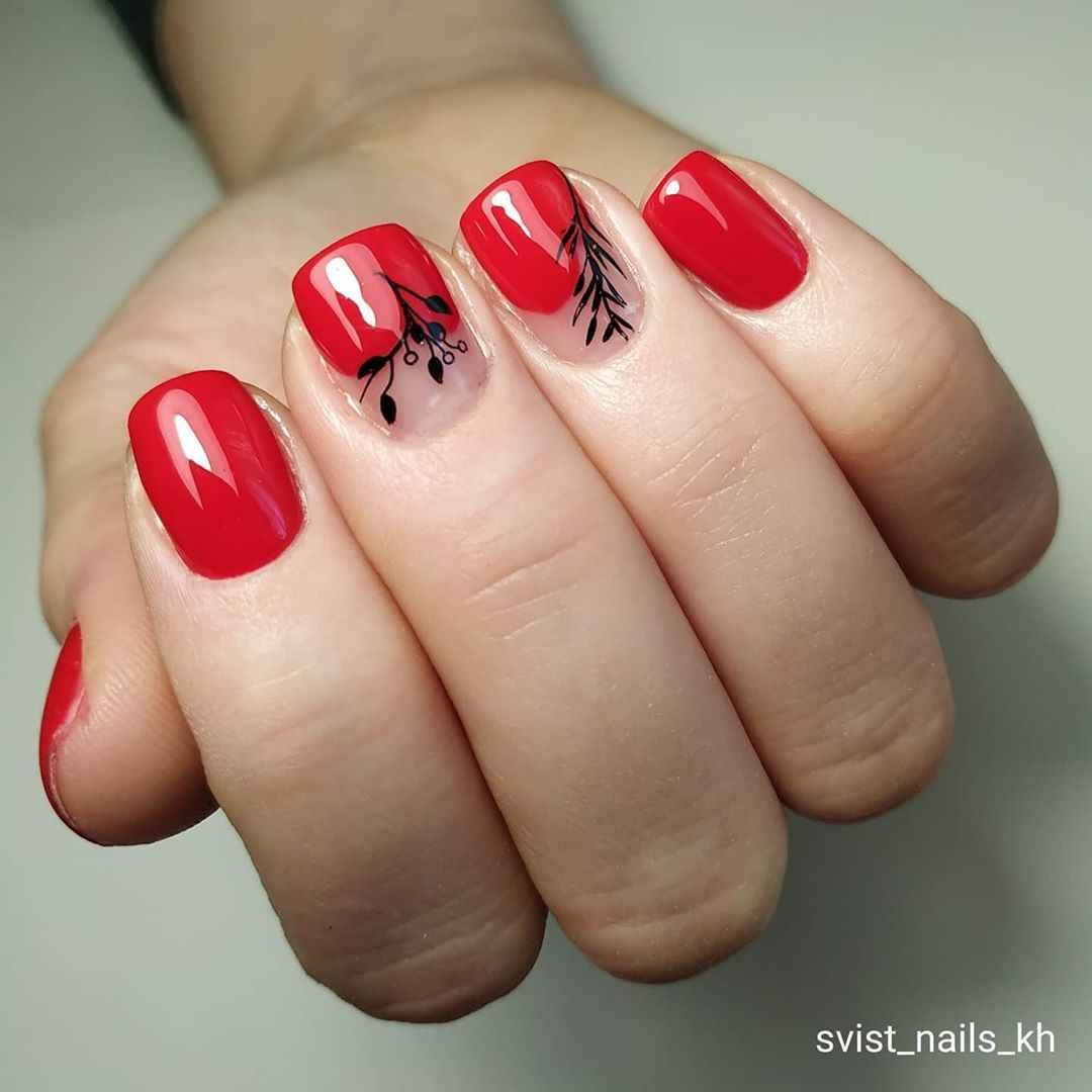 Красный деловой маникюр  фото_41
