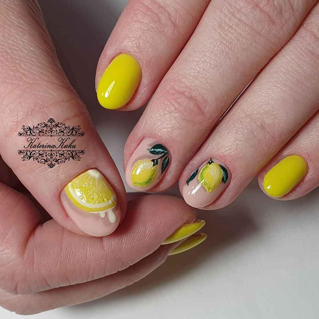Маникюр с лимоном на короткие ногти фото_4