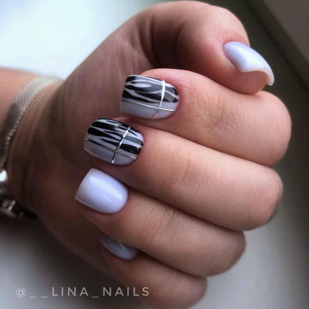 Зебра на ногтях фото_12