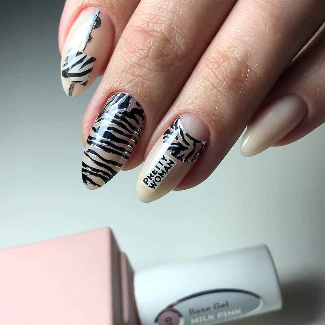 Зебра на ногтях фото_36