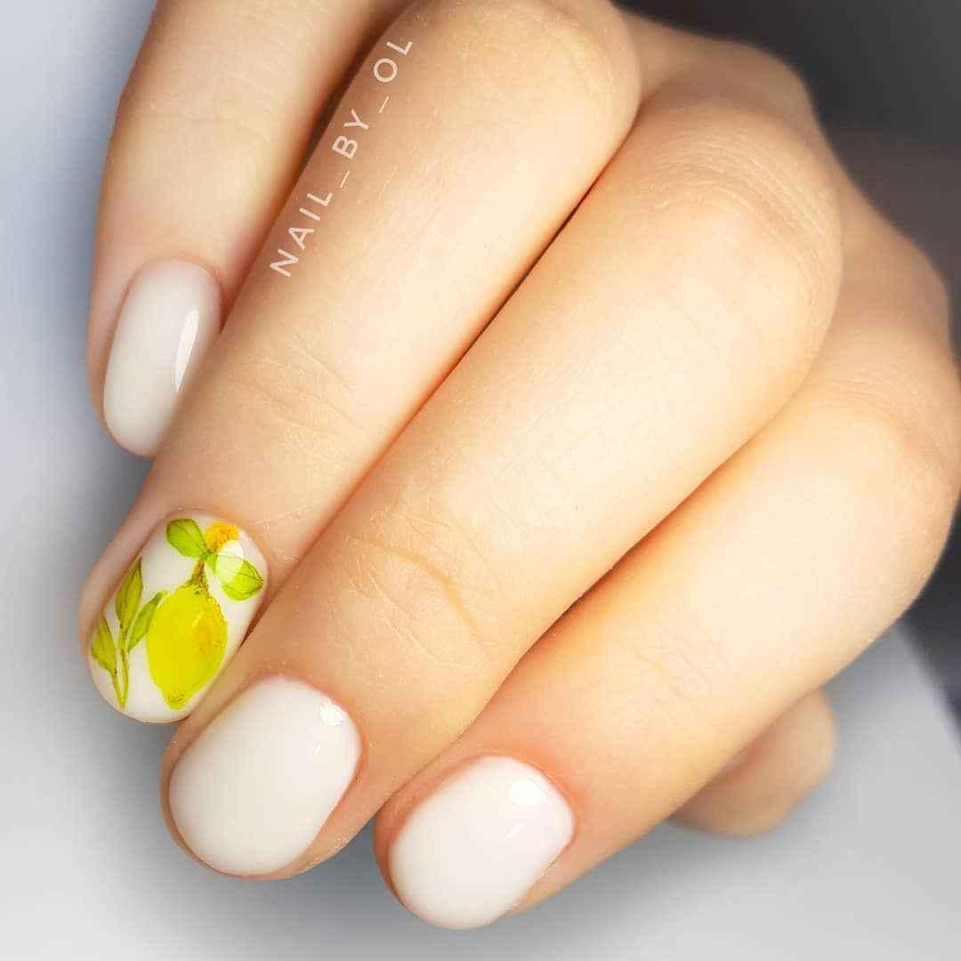 Маникюр с лимоном на короткие ногти фото_1