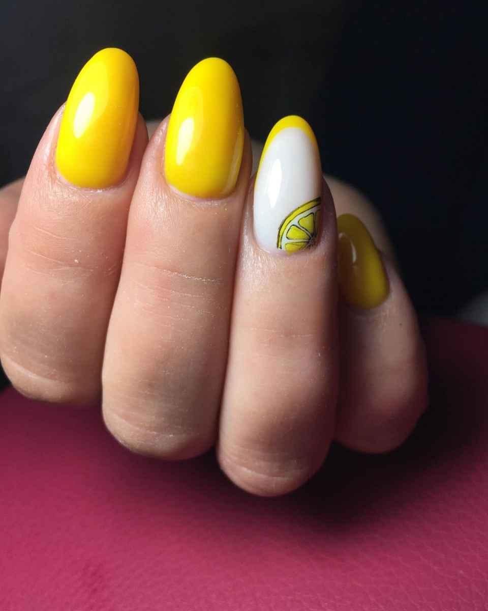 маникюр с лимоном фото_7