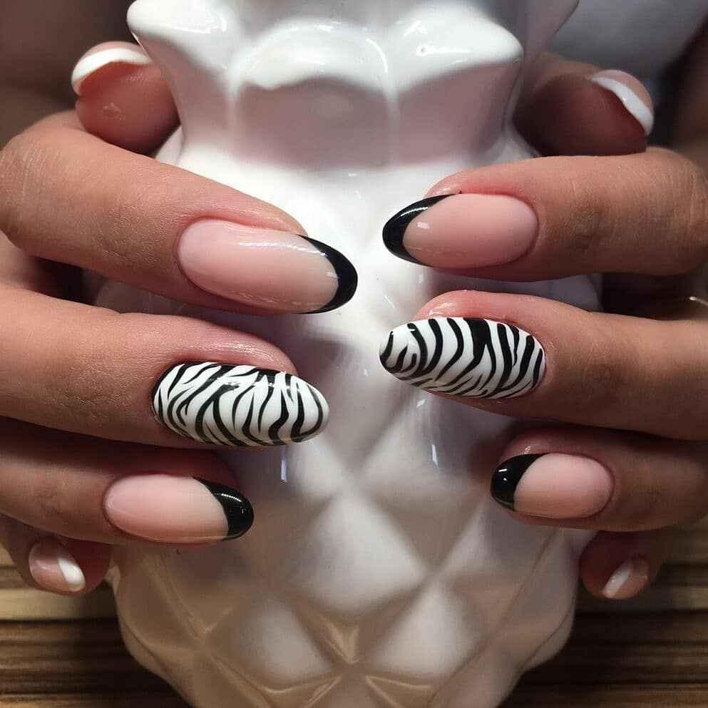 Зебра на ногтях фото_34