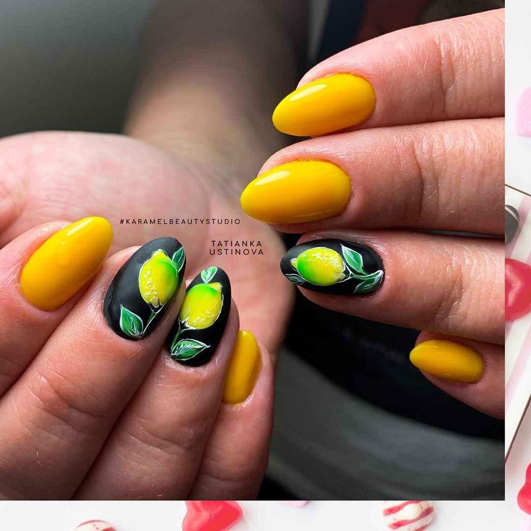 маникюр с лимоном фото_12