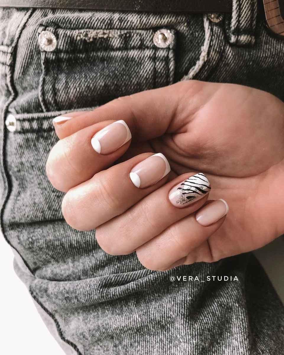 Зебра на ногтях фото_17