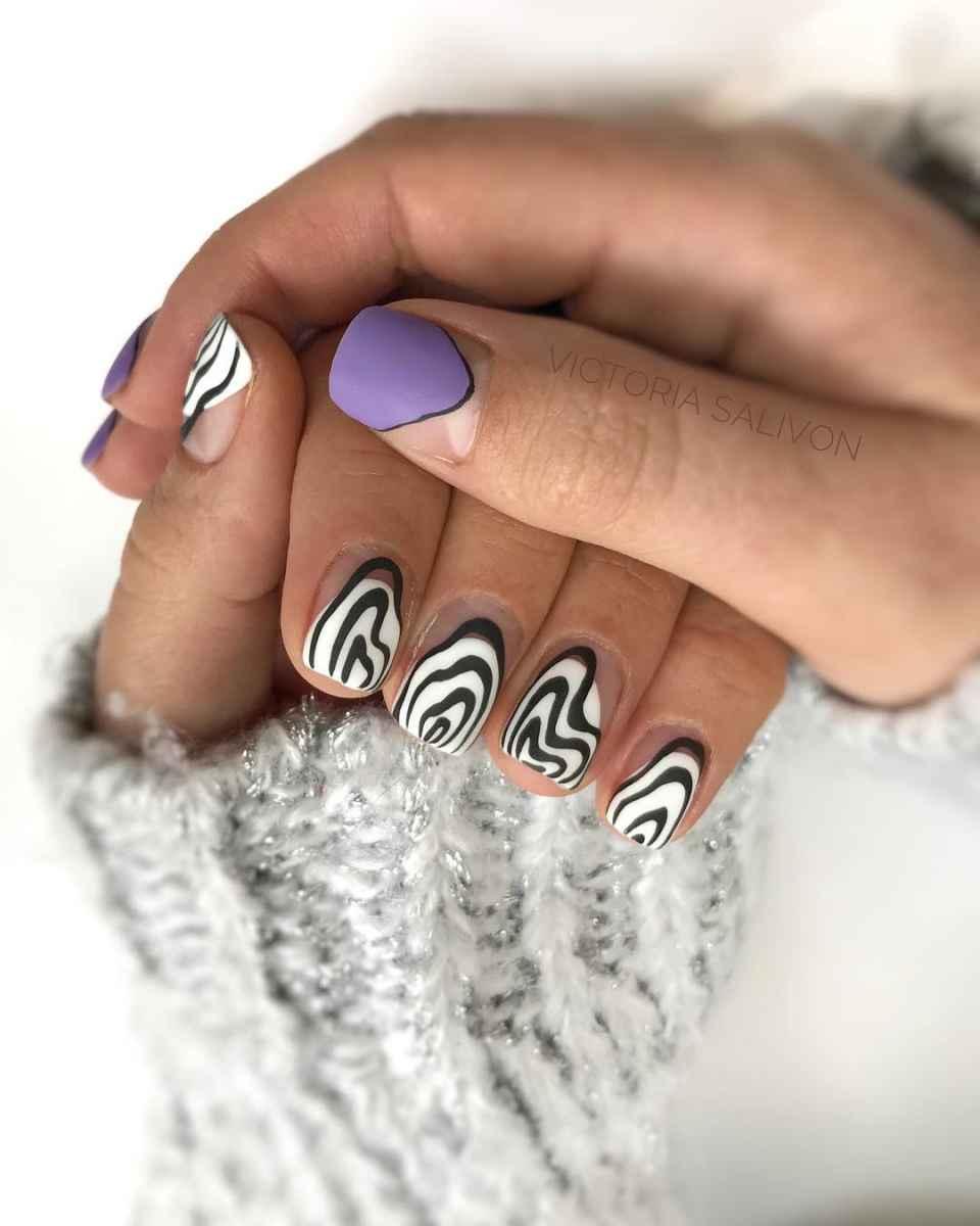 Зебра на ногтях фото_41