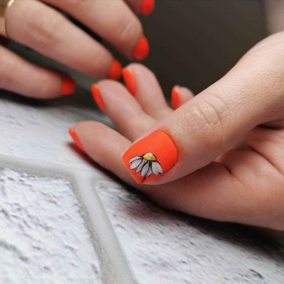 Маникюр с ромашкой на короткие ногти фото_4