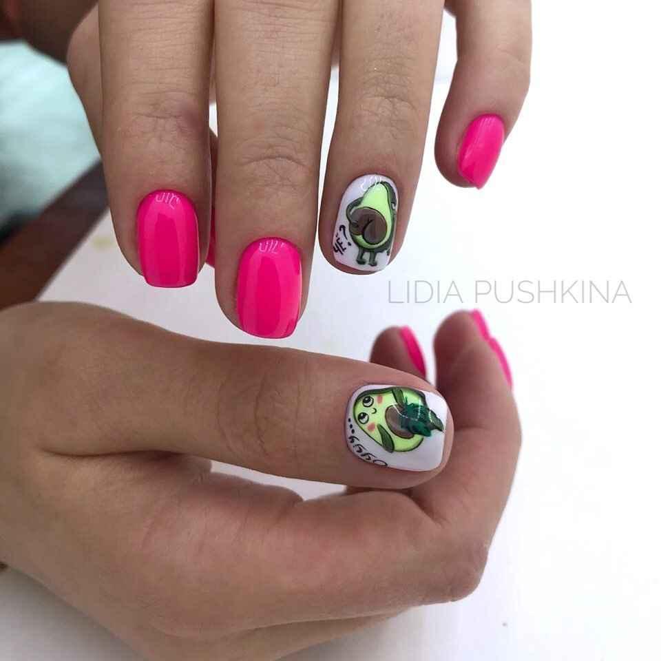 маникюр с авокадо на короткие ногти фото_1