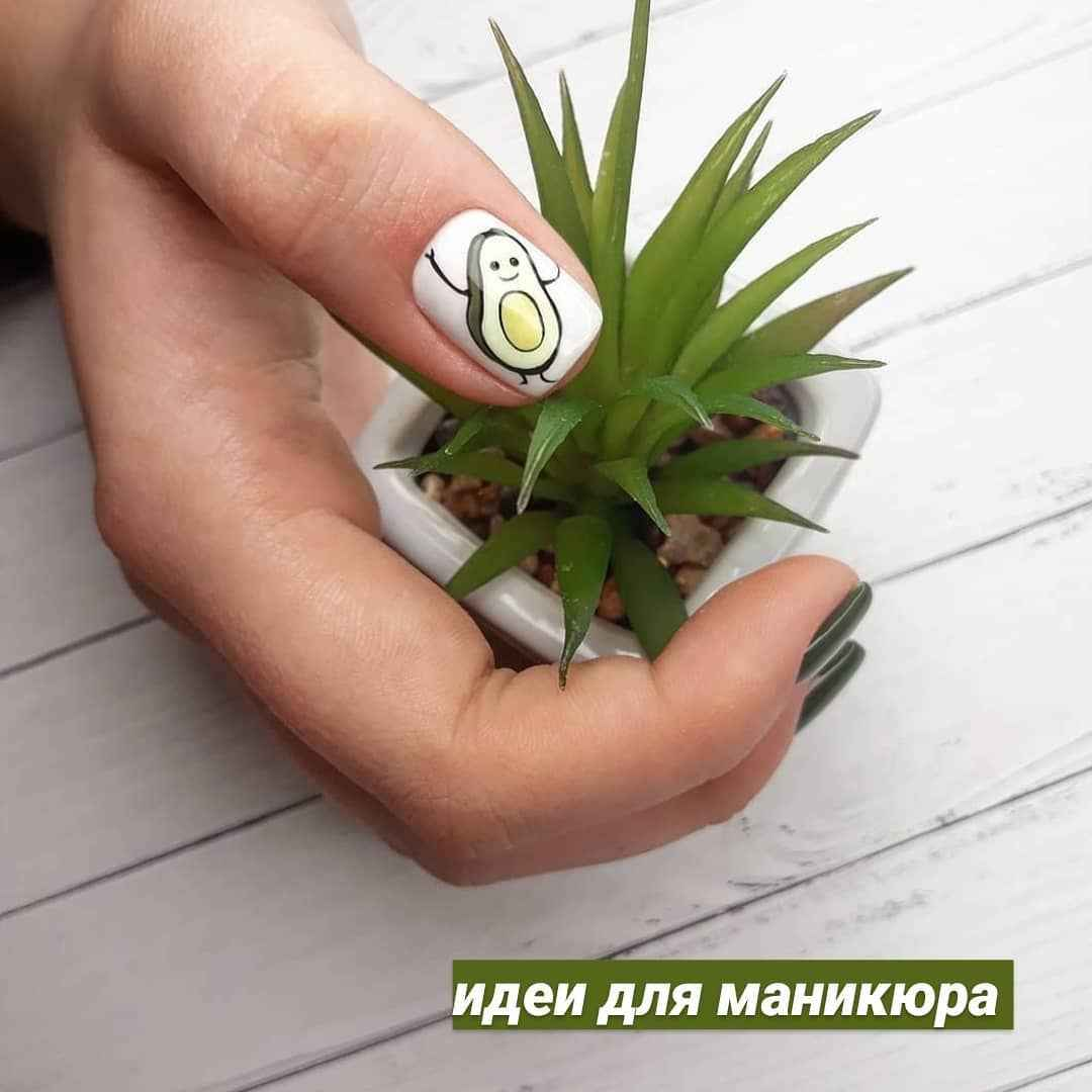 Маникюр с авокадо на одном пальце фото_8
