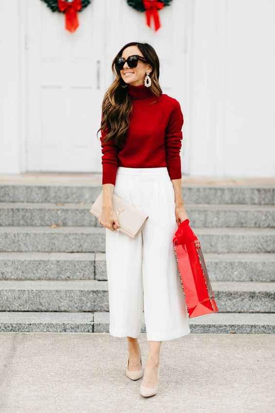 С чем носить красный свитер фото_1