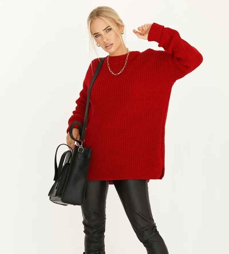 С чем носить красный свитер фото_52