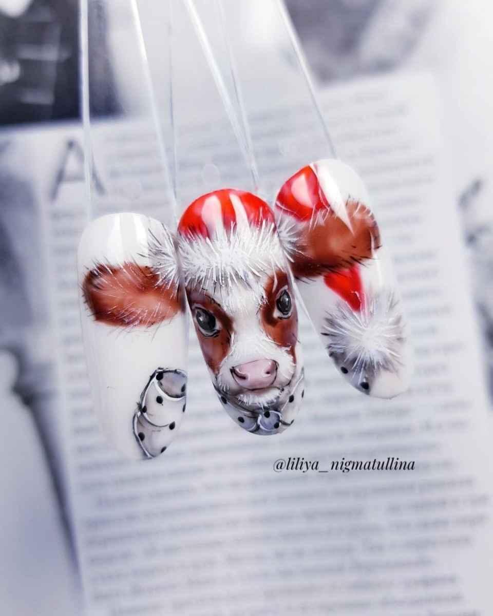 Новогодний маникюр с быком или коровой 2021 фото_36