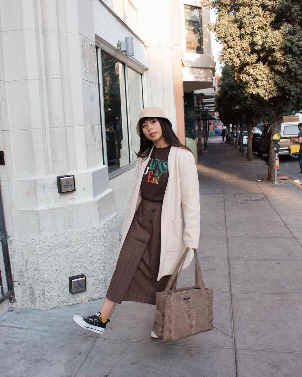 С чем носить панаму женскую осенью и зимой фото_9
