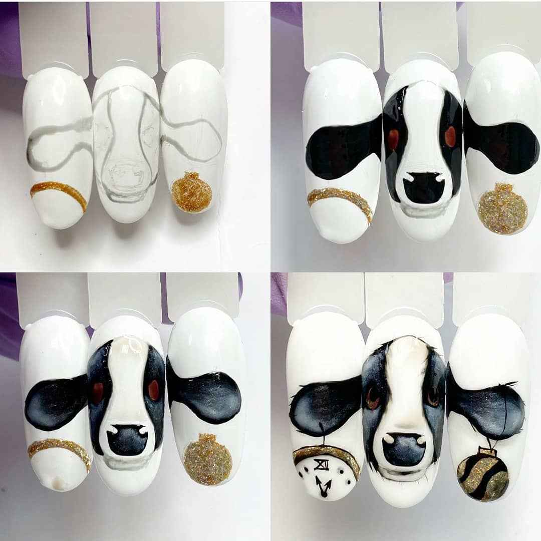 Новогодний маникюр с быком или коровой 2021 фото_14