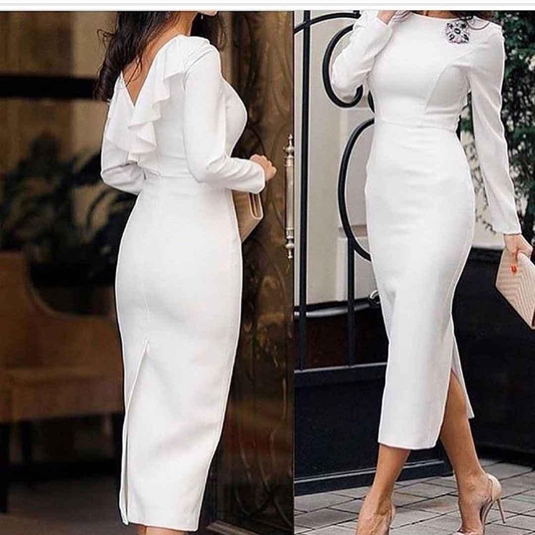 Модные белые платья для Нового Года 2021 фото_10