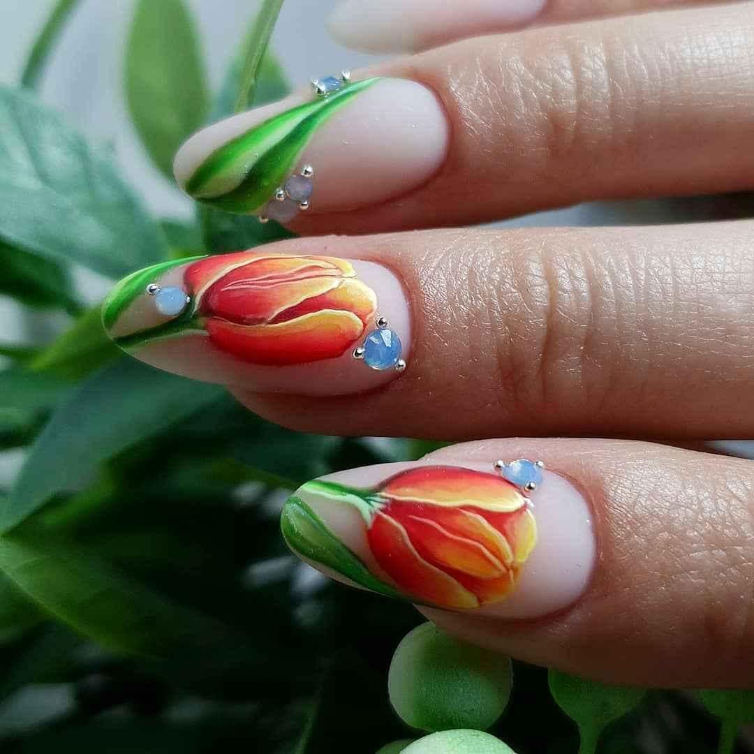 Тюльпаны на ногтях фото_9