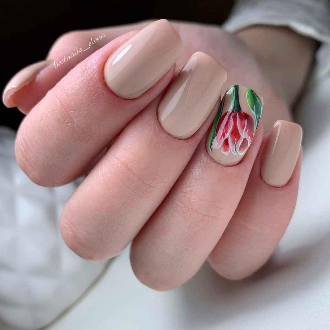 Тюльпаны на ногтях фото_12