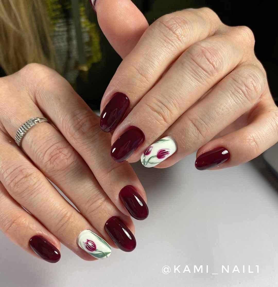 Тюльпаны на ногтях фото_11