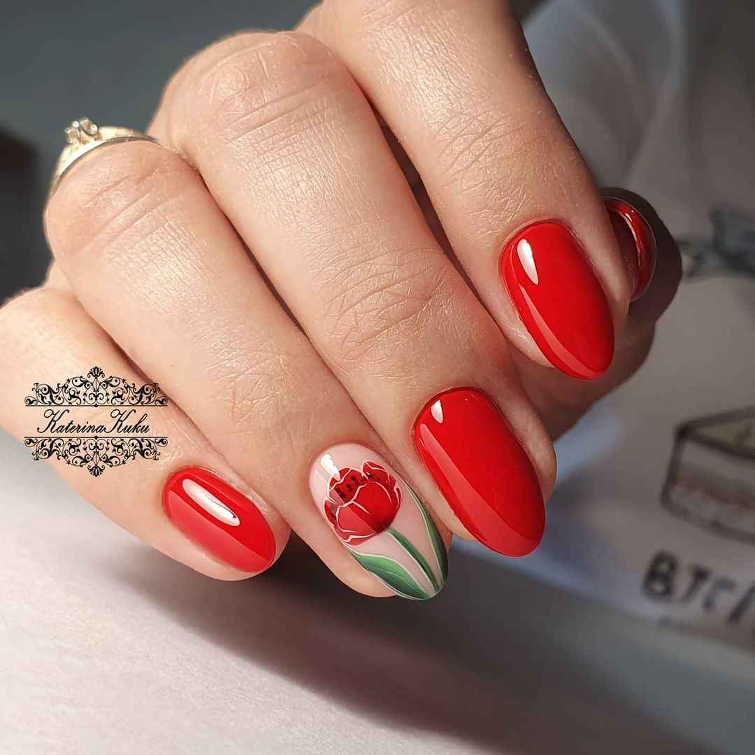 Тюльпаны на ногтях фото_25