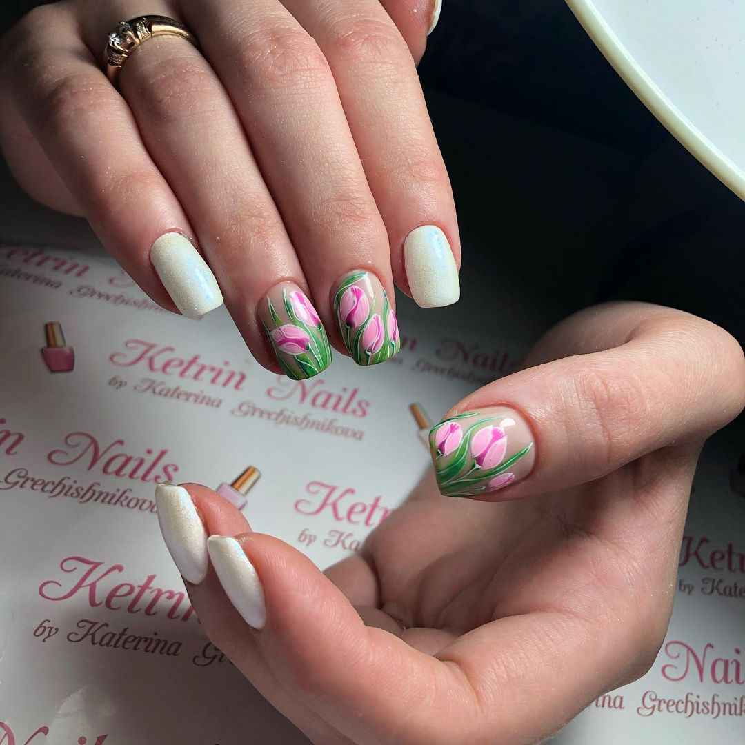 Тюльпаны на ногтях фото_8