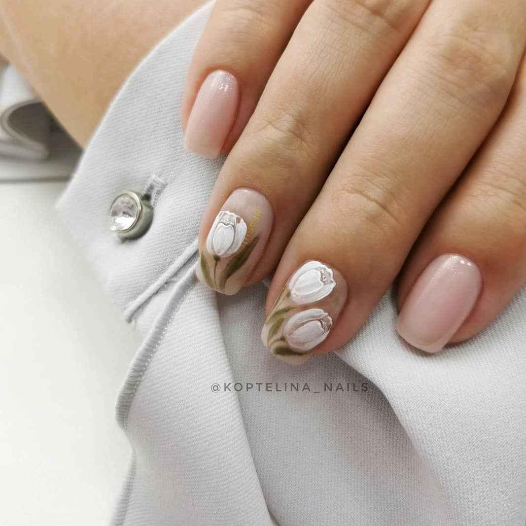 Тюльпаны на ногтях фото_17
