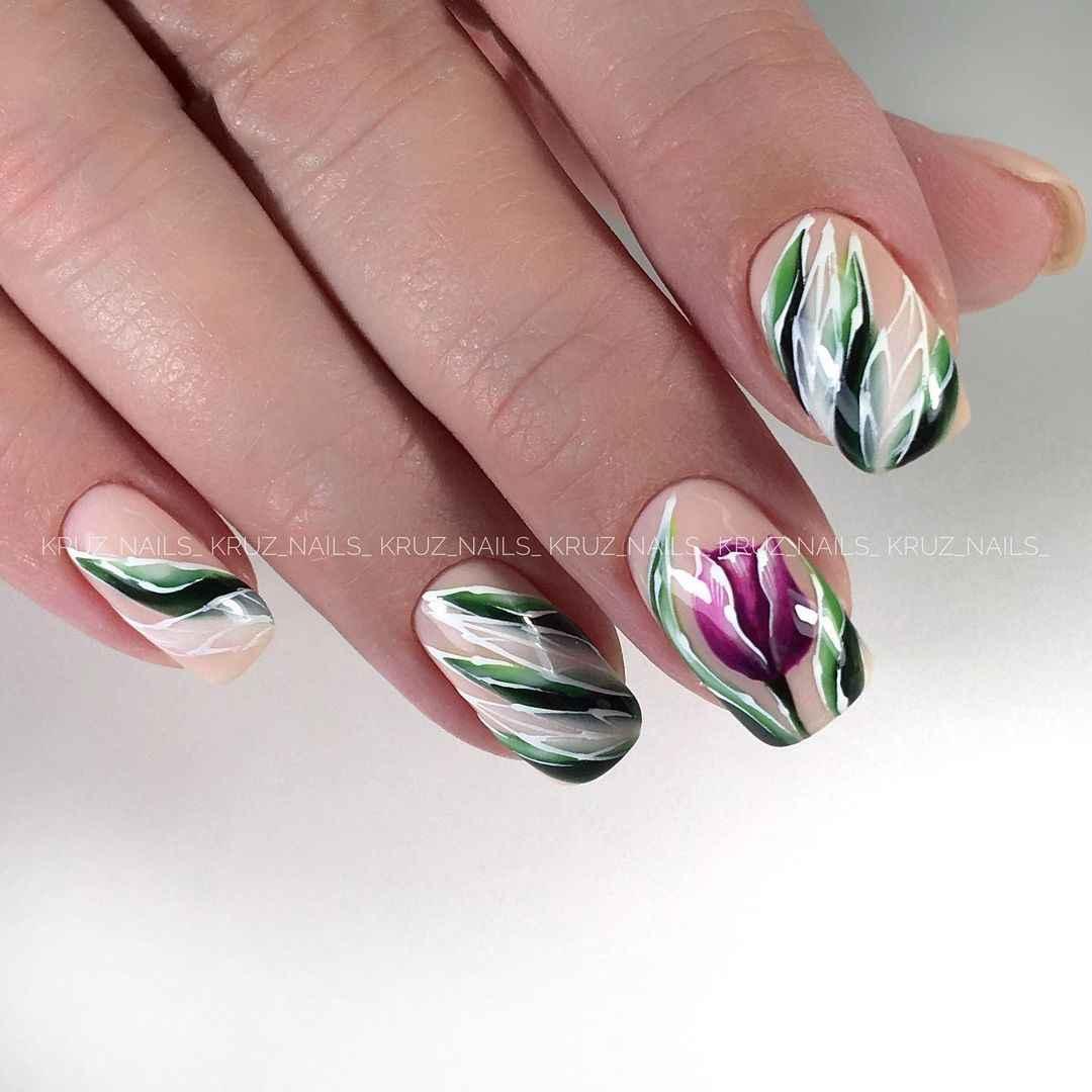 Тюльпаны на ногтях фото_14