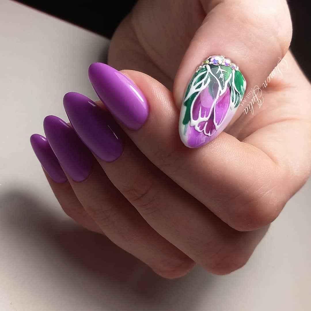 Тюльпаны на ногтях фото_5