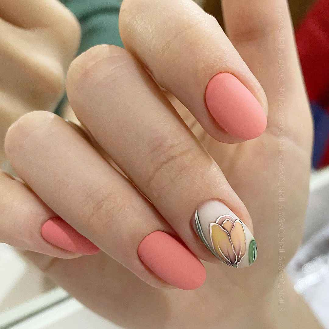 Тюльпаны на ногтях фото_10